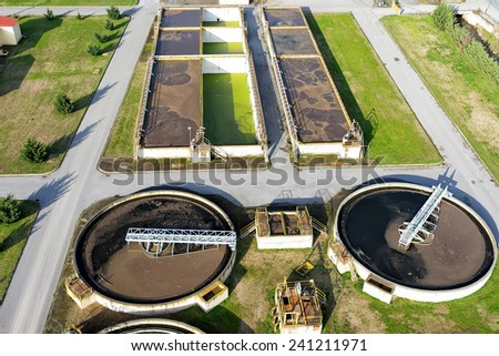aerial view of Giannitsa city sewage treatment plant - stock photo
