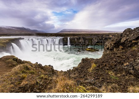 Aerial view of Godafoss, Iceland - stock photo