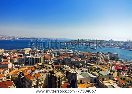 Aerial view of Golden Horn Bay from Galata tower in Istanbul - stock photo