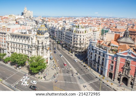 aerial view of Gran Via, main shopping street in Madrid, capital of Spain, Europe. - stock photo