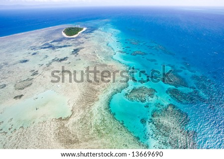 Aerial view of Great Barrier Reef from helicopter, Queensland, Australia - stock photo