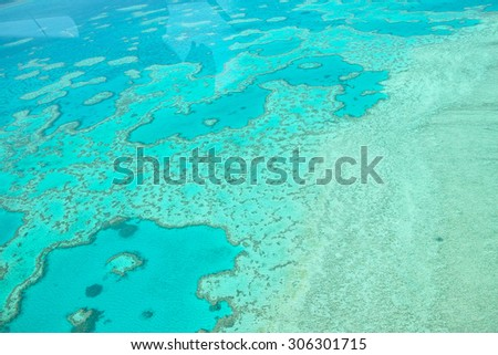 Aerial view of Great Barrier Reef in Whitsundays, Queensland, Australia - stock photo