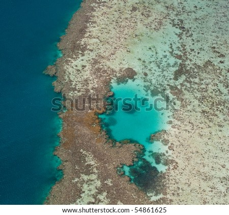Aerial view of Great Barrier Reef off the coast of Australia - stock photo