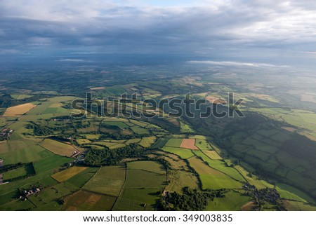 Aerial view of green countryside in Somerset, UK