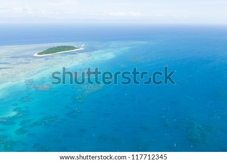 Aerial view of Green Island and Great Barrie Reef from helicopter