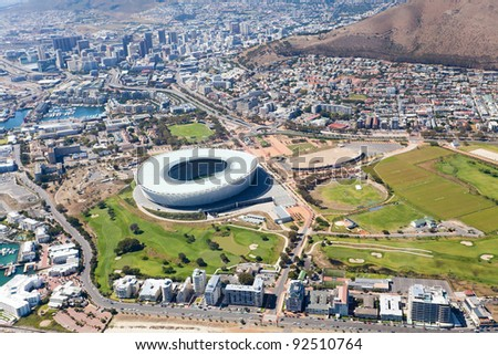 aerial view of green point stadium and downtown of Cape Town, South Africa - stock photo