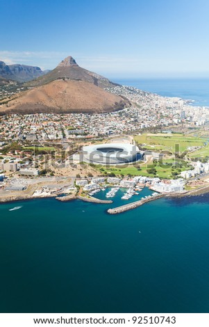 aerial view of green point stadium Cape Town, South Africa - stock photo