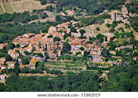 Aerial view of Grimaud village in the Var department of Provence - stock photo