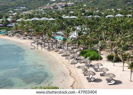 Aerial View of Guanahani Beach on Grand Cul-de-Sac Bay in St Barts, French West Indies - stock photo