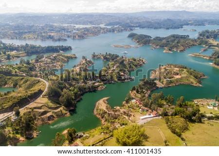 Aerial view of Guatape (Penol) dam lake in Colombia - stock photo