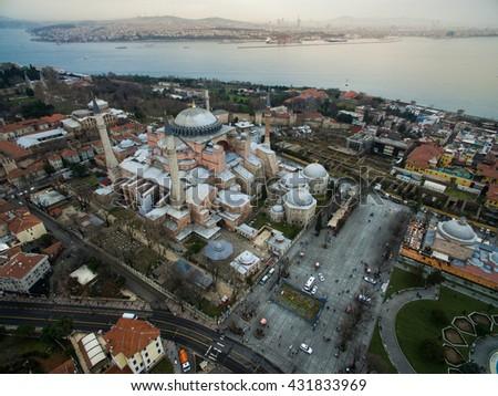 Aerial View of Hagia Sophia, Sultanahmet, Istanbul - stock photo