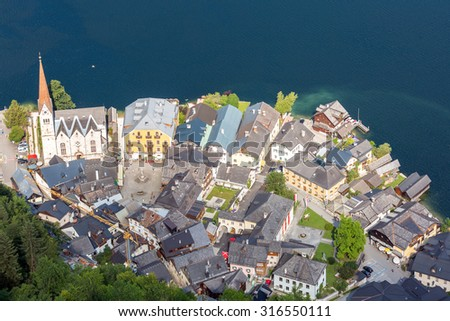 Aerial view of Hallstatt village in Alps, Austria - stock photo
