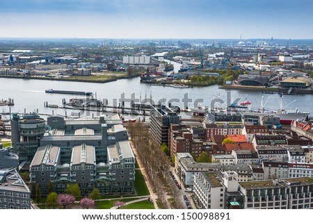 Aerial view of Hamburg. Germany