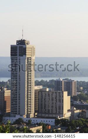 Aerial view of Hamilton, Ontario, Canada. - stock photo