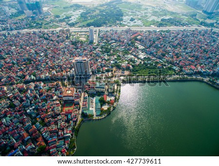 Aerial view of Hanoi cityscape near West Lake, Hanoi, Vietnam