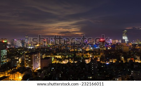 Aerial view of Hanoi skyline at clear sunset scene