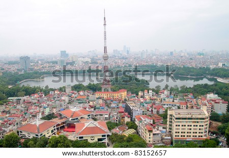 Aerial view of Hanoi Vietnam lake view