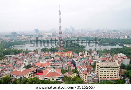 Aerial view of Hanoi Vietnam lake view - stock photo