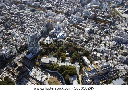 Aerial view of Harajuku station areas