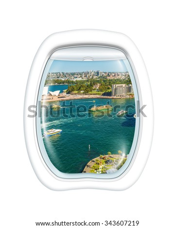 Aerial view of Harbour River in Sydney bay on board of a plane through the porthole window. Copy space. - stock photo