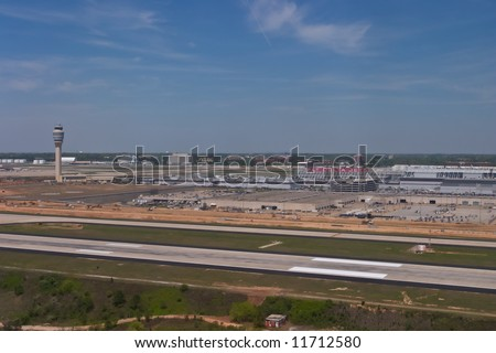 Aerial view of Hartsfield-Jackson Atlanta International Airport - stock photo