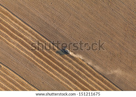 aerial view of harvest fields - stock photo