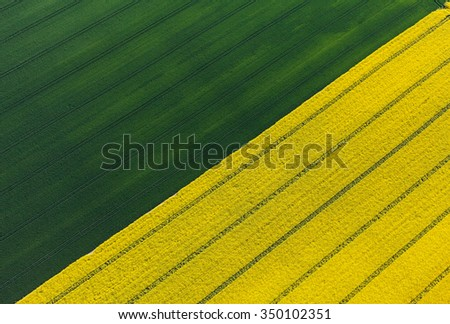 aerial view of harvest fields in Poland - stock photo