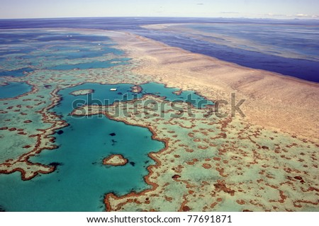 Aerial view of Heart Reef in the Great Barrier Reef, far north Queensland, Australia - stock photo