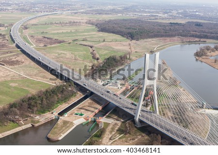 aerial view of highway bridge near Wroclaw city  in Poland - stock photo