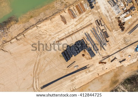 Aerial view of highway  construction site in Poland - stock photo