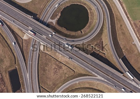 aerial view of highway in Wroclaw  Poland - stock photo