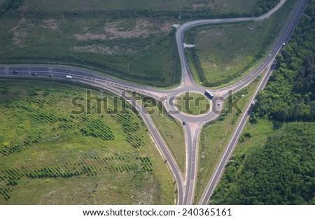 Aerial view of highway interchange  - stock photo