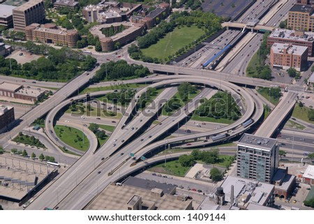 Aerial view of highway interchange in Chicago, Illinois (290 & 90/94). - stock photo