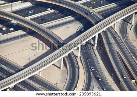 Aerial view of highway interchange of modern urban city.  - stock photo