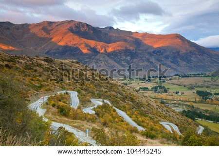Aerial view of Highway Road Freeway to Arrow Town with Sunrise Mountain range Landscape New Zealand - stock photo
