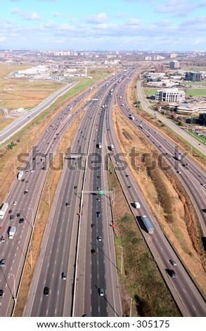 Aerial view of highway Toronto Canada