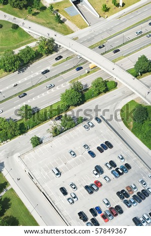 Aerial View of Highway with Pedestrian Bridge - stock photo