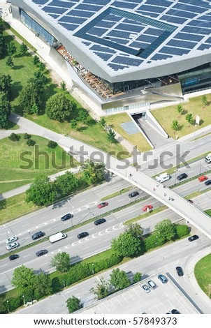 Aerial View of Highway with Pedestrian Bridge