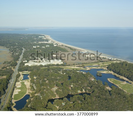 Aerial view of Hilton Head Island taken from a plane - stock photo