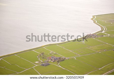 Aerial view of historic Marken island, The Netherlands - stock photo