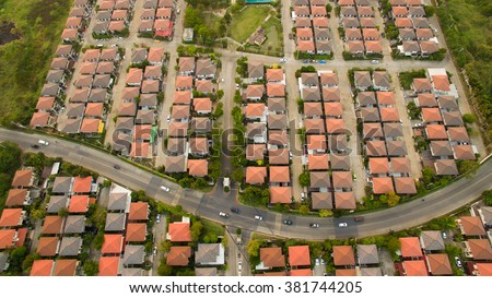 aerial view of home village in bangkok  thailand - stock photo