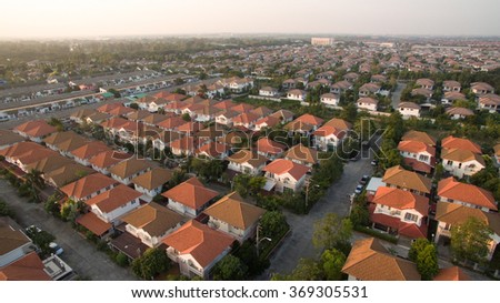 aerial view of home village in thailand use for land development and property real estate business - stock photo