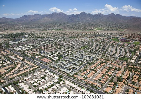 Aerial view of homes and apartments in upscale Scottsdale, Arizona - stock photo