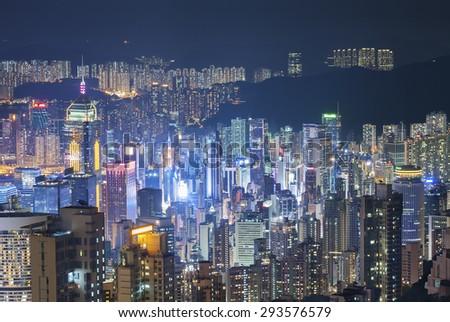 Aerial view of Hong Kong City at night - stock photo
