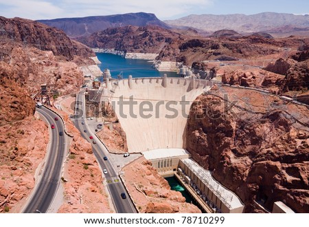 Aerial view of Hoover Dam - stock photo