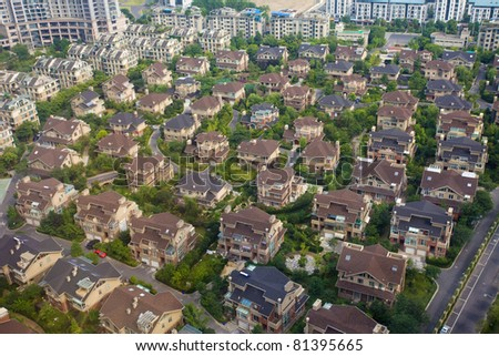 Aerial view of houses - stock photo