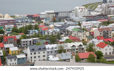 Aerial view of houses in Reykjavik, Iceland - stock photo