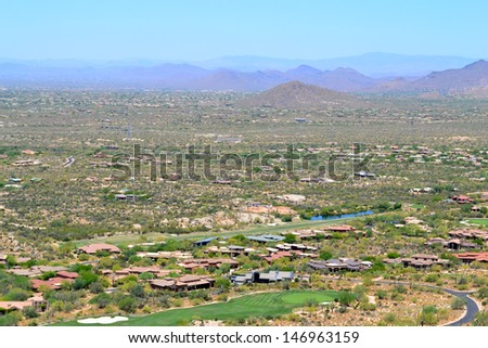 Aerial View of Houses in Scottsdale, Arizona USA - stock photo