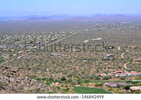 Aerial View of Houses in the Valley of Scottsdale, Arizona - stock photo
