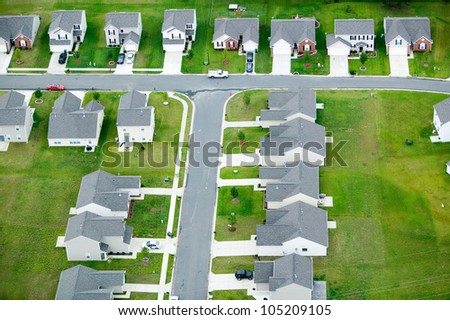 Aerial view of housing development in Charlotte, North Carolina - stock photo